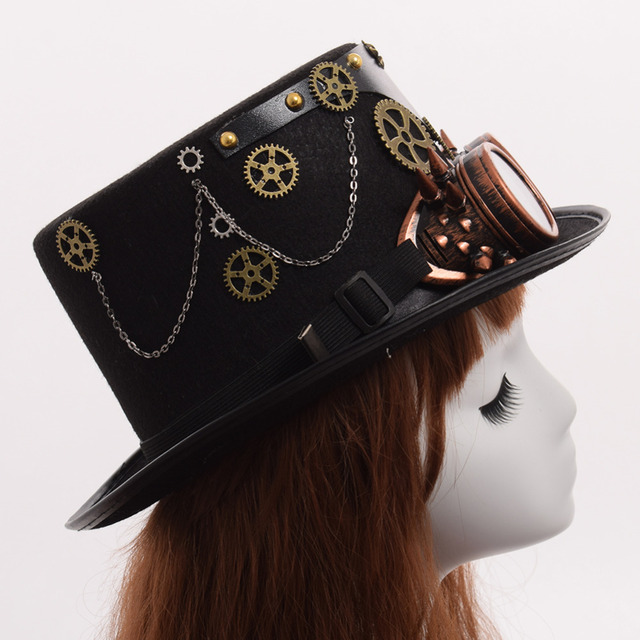 Шляпа в стиле стимпанк с очками вариант 6 4