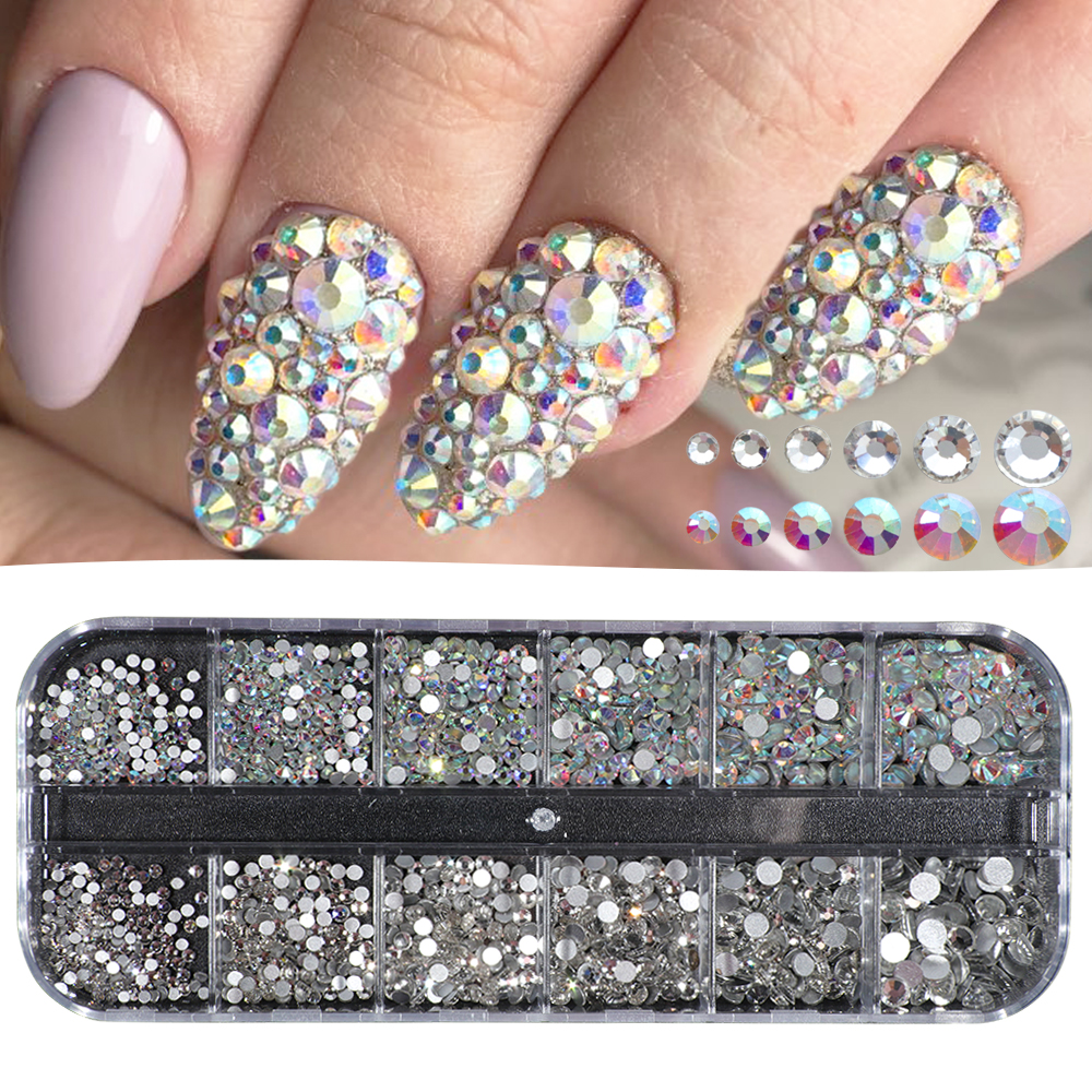 Us 368 25 Offglitter Crystal Nail Rhinestones Set Mixed Rainbow Ab White Stones Chameleon Nail Art Decorations Box Flat Back Manicure Tr388 In