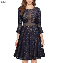 OLN High-quality Autumn Woman Lace Slim Evening Party Dress Winter Woman Casual Dresses Plus Size Elegant Lady Uniform Banquet(China)