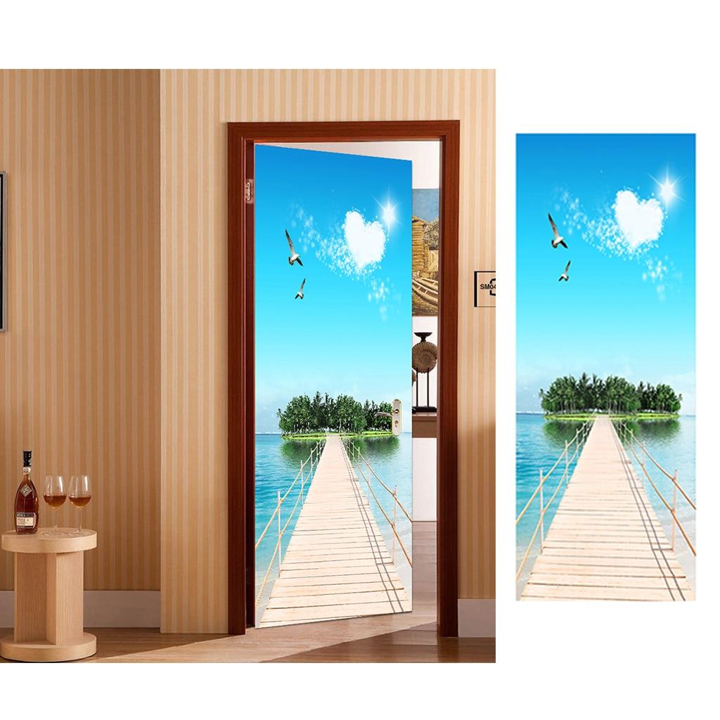 Creative 3D Door Stickers Removable Wall Poster DIY Art Decals Ocean 2Pcs