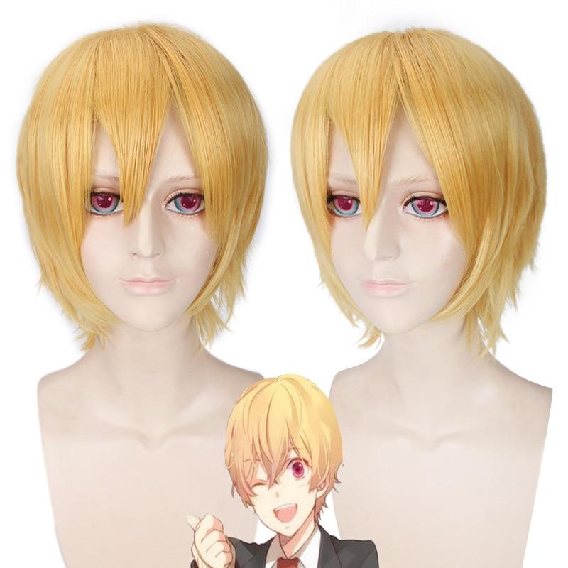 Free Iwatobi Swim Club Hazuki Nagisa Gold Cosplay Wig Short Straight Wigs Bangs For Party Synthetic Hair+Wig Cap