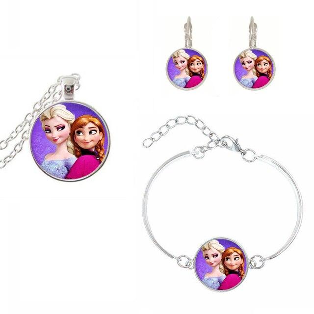 suteyi newest silver color chain necklace set elsa anna olaf cartoon