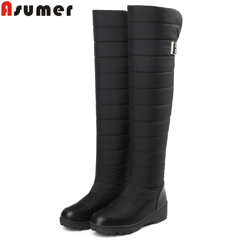 ASUMER Female Shoes Platform Snow-Boots Round-Toe Knee Plus-Size Fashion Women NEW Winter