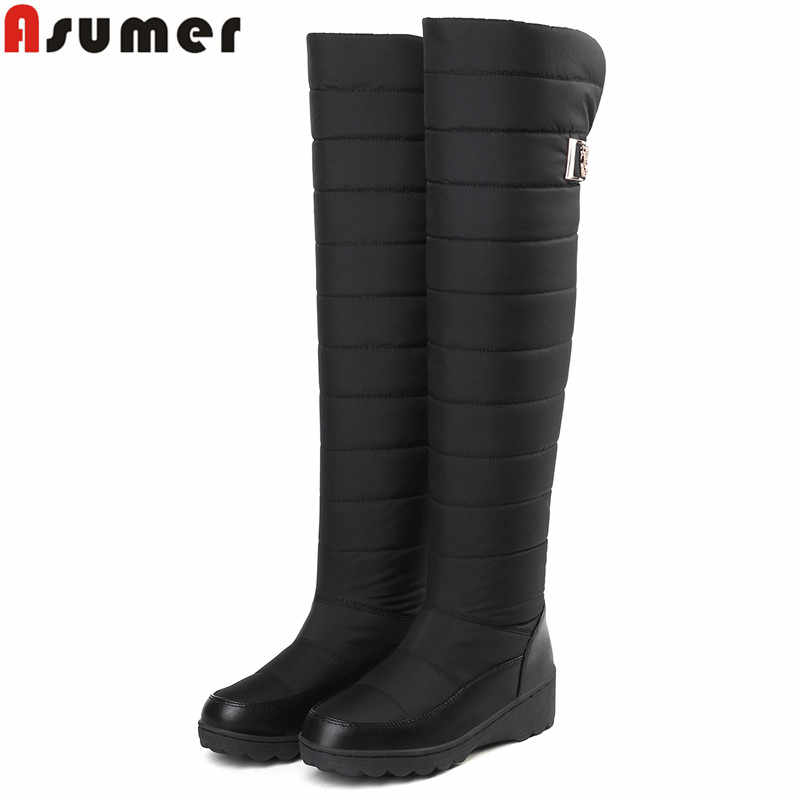 ASUMER Plus size 35-44 NEW 2020 Snow boots women fashion keep warm winter boots round toe platform knee high boots female shoes