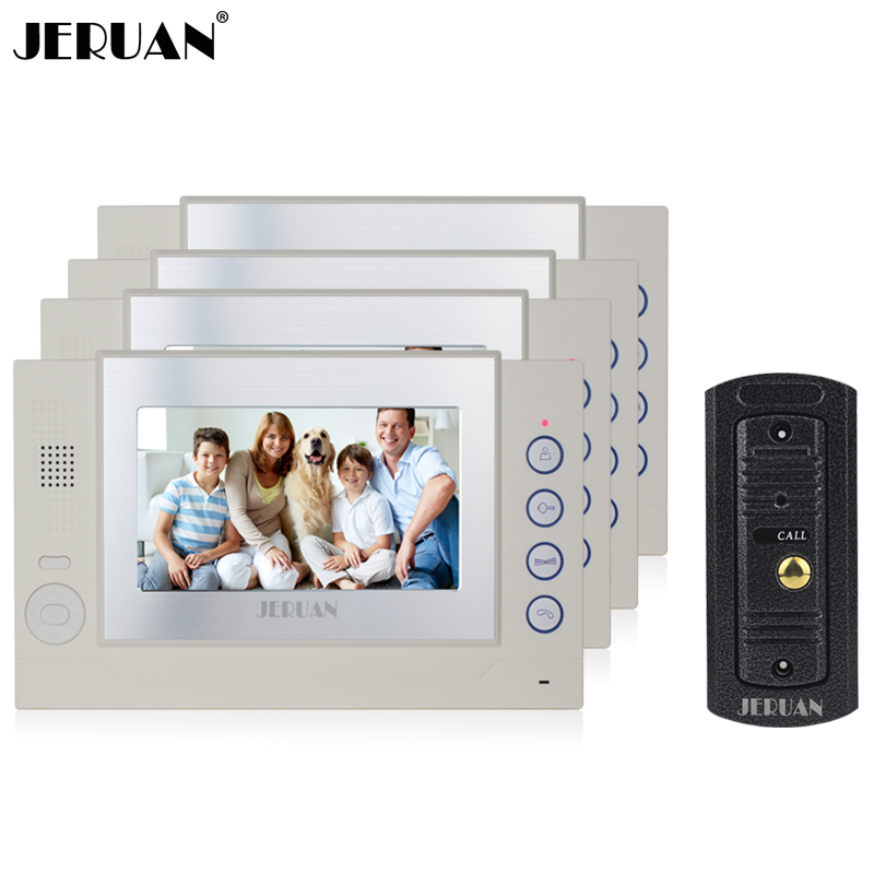 купить JERUAN 7 inch TFT screen video door phone record intercom system 4 monitors 1 IR Night vision pinhole camera недорого