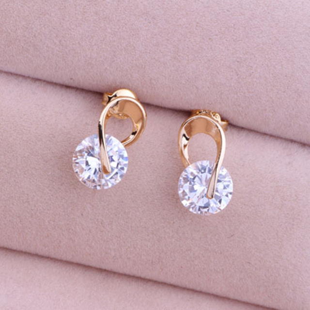 2017 Cute Design Zircon Cz Stud Earrings For Women Gold Silver Plated Fashion Jewelry