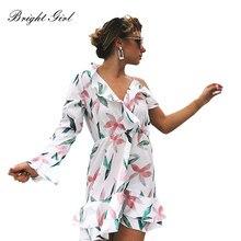 d5ba7f59954d BRIGHT GIRL summer dress print backless sexy short dresses one sleeve women  Bohemian style mini dress beach elegant vestidoes
