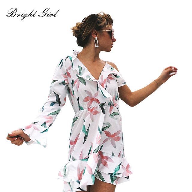 BRIGHT GIRL summer dress print backless sexy short dresses one sleeve women Bohemian style mini dress beach elegant vestidoes