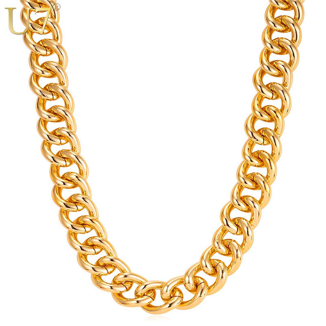 U7 New Hot HipHop Jewelry 120cm Long Chunky Necklace Gold Color 23mm Width Statement Men Chain Necklace Wholesale N601