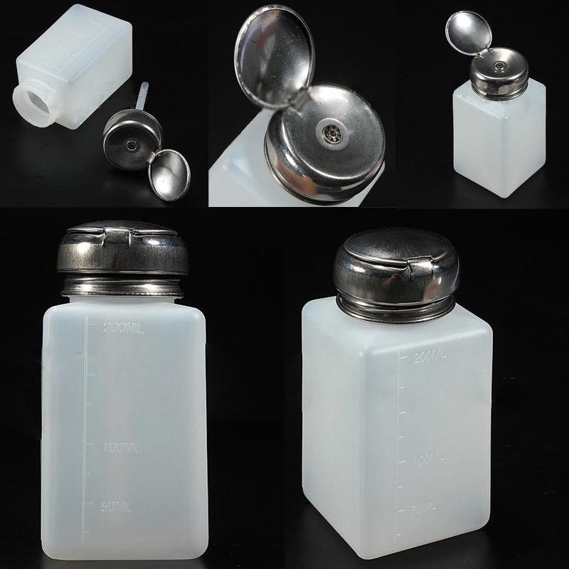 200ML Bottle Empty Pump Dispenser For Nail Art Polish Acrylic Liquid ...