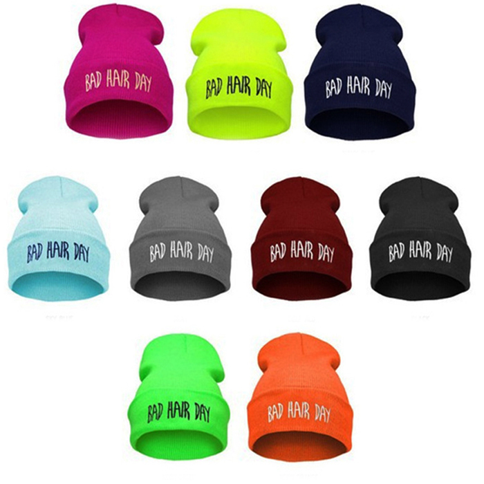 1 Pieces Personality Fashion Bad Hair Day hip-hop Hat , European Knitted wool spring Autumn winter   Beanie   hats For women and men