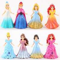 Disney princesse magique pince poupées robe Magiclip 8 pièces/ensemble 9cm Figurine d'action Anime décoration Collection Figurine jouets modèle enfant