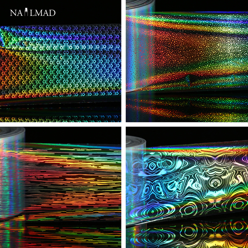 1 roll 4*100cm Holographic Nail Foils Laser Fish Scale