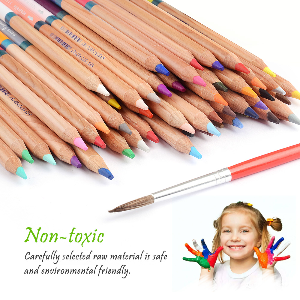 48 Colors Water Soluble Drawing Pencil Set Non-toxic Pencils Tin Wooden Painting Artist Sketching Craft Graphite with Iron box 8004 12 in 1 kid s bathing non toxic vinyl squeaky toys set multicolored