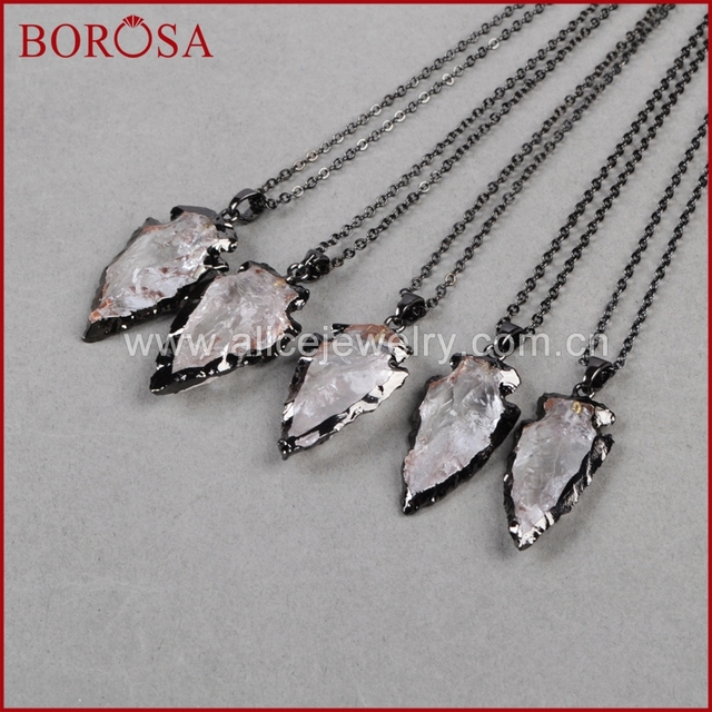 Borosa fashion arrow pendants necklace new crystal quartz arrowhead borosa fashion arrow pendants necklace new crystal quartz arrowhead pendants black gun metal color quartz druzy aloadofball Choice Image