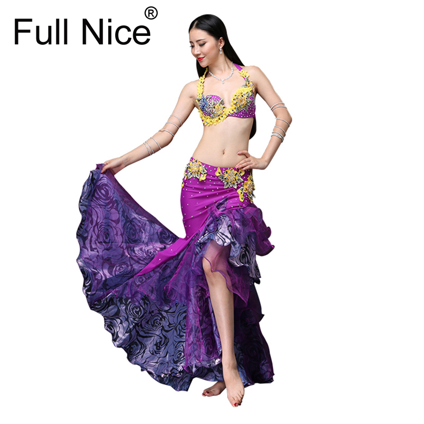 New Performance Women Dancewear Belly Dancing Clothes Oriental Dance Outfits Belly Dance Beaded Costume Bra and Skirt 2pcs