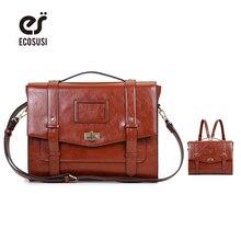 Фотография  ECOSUSI 2017 New Fashion Women Bag Leather Satchels Ladies Adjustable Strap Messenger Shoulder Backpack Bags 14.7