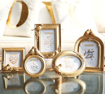 European Style Elegant Bird Round Oval Square Shape Picture Frame High Grade Royal Style Gold Photo Frame Home Decoration LFB669