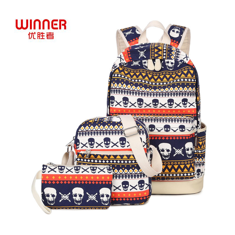 WINNER Fashion 3pcs set Printing Backpacks School Bags For Teenagers Girls Mochila Leisure Travel Student Backpacks