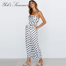 YOK's 2018 New Jumpsuit Lady Sexy Wrap Print Pants Sleeveless Strapless Jumpsuit Women Wide Leg Pants Rompers Female DN172