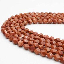 6810mm Natural Gold Sand Stone Beads Loose Dark Blue Sandstone Round Faceted Bead Fit for DIY Jewelry Making Bracelet Earrings