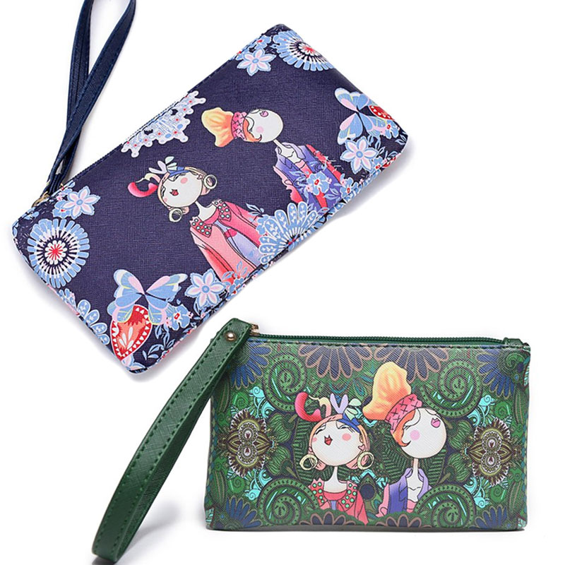 Women Leather Wallet National Printing Girls Clutch bags Lady Cartoon Handbags Wallet 2018 New Ladies Small Hand Bag