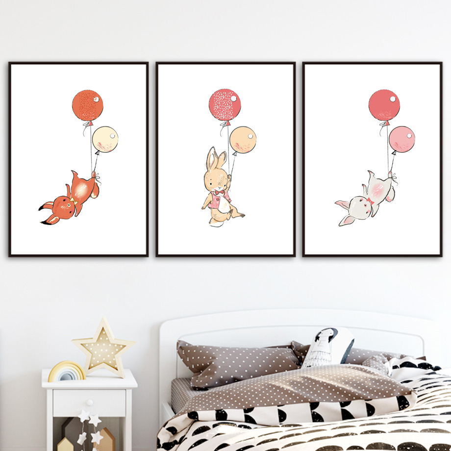 Rabbit Balloon Bunny Nursery Art Print