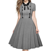 Sisjuly Women S Vintage Elegant Dresses 2017 Summer Plaid Short Sleeve Wear To Work Office Casual