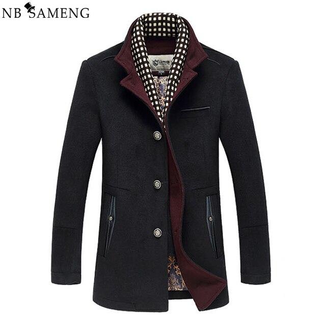2017 New Winter Men Splice Woolen Jacket Plus Thick Outerwear Mens Middle Long Jacket Coat Winter Warm Overcoat 13W0285