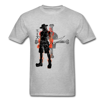 One Piece Tshirt Men's T-Shirt Fire Fist Ace T Shirt Anime Print Mans Clothes Grey Top Cotton Tees Skull Summer Drop Shipping