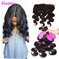 7A Brazilian Body Wave With Closure13x4 Ear To Ear Lace Frontal Closure With Bundles 3/4 Bundle Human Hair Weaves With Closure