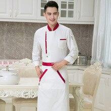 4f9db4634c0 Ropa de Chef uniforme de manga larga Hombre Mujer Chef uniforme Hotel  cantina pasteles panadería ropa
