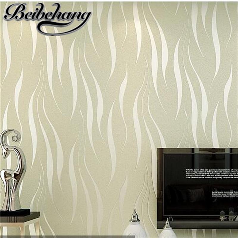 beibehang Simple modern TV background wall paper bedroom living room striped non-woven thickened 3d stereo wavy wallpaper behang