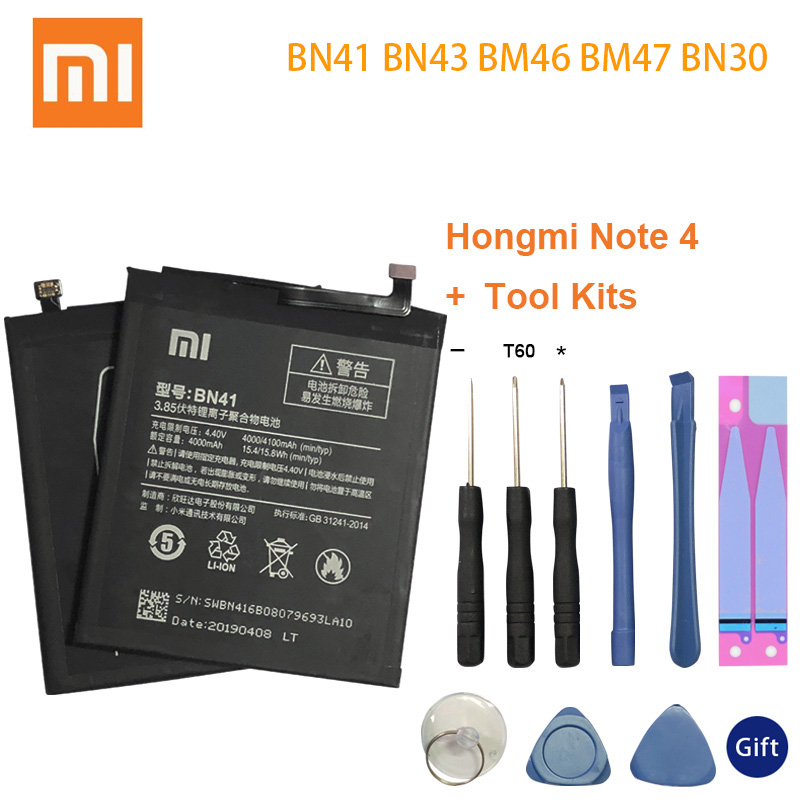 Xiao Mi BN41 Original Phone Battery For Xiaomi Redmi Note 4 4X 3 Pro 3S 3X 4A BN43 BN30 BM46 BM47 Replacement batteries