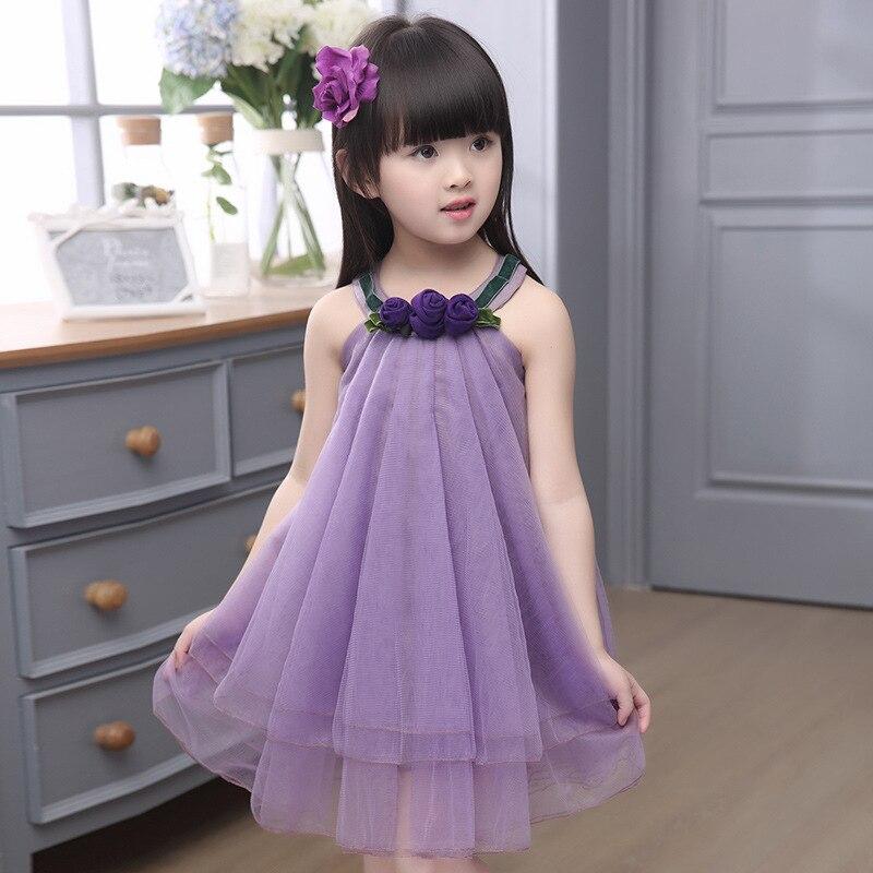 ⊰Verano niña princesa vestido sin mangas del partido del traje de ...