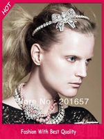 Wholesale And Retail Fashion New Metal Pearl And Gems Super Bow Headband Hairband Fashion Party Wedding
