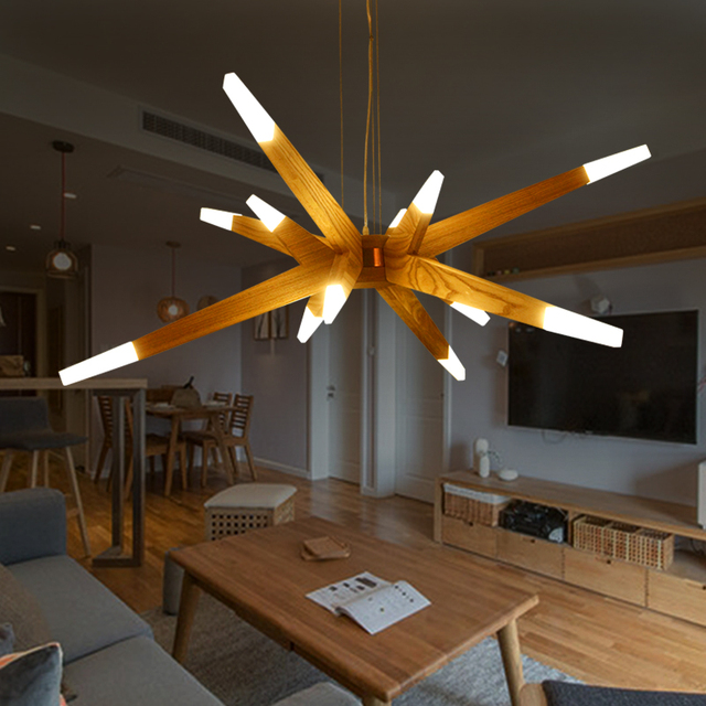 Modernas luces colgantes para comedor Modern Suspention Wooden ...