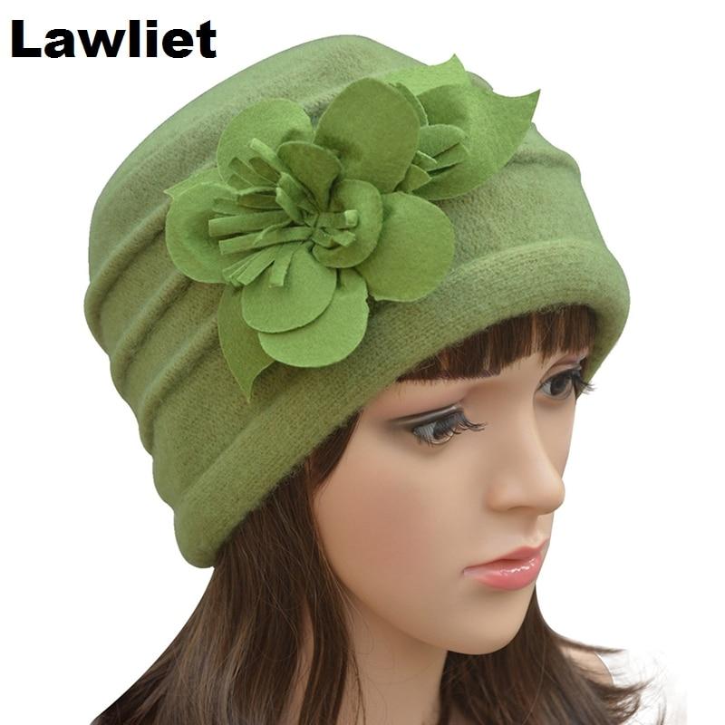 A123 Multicolor Parquet Winter Felt Flower trimmed font b Womens b font Warmer Wool Beanie Cap