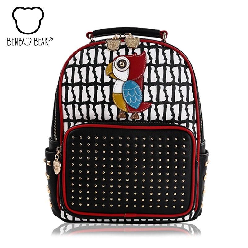 Rivet Women Backpack Cute College Wind School Bags for Teenage Girl NEW Fashion Woodpecker Travel Backpack