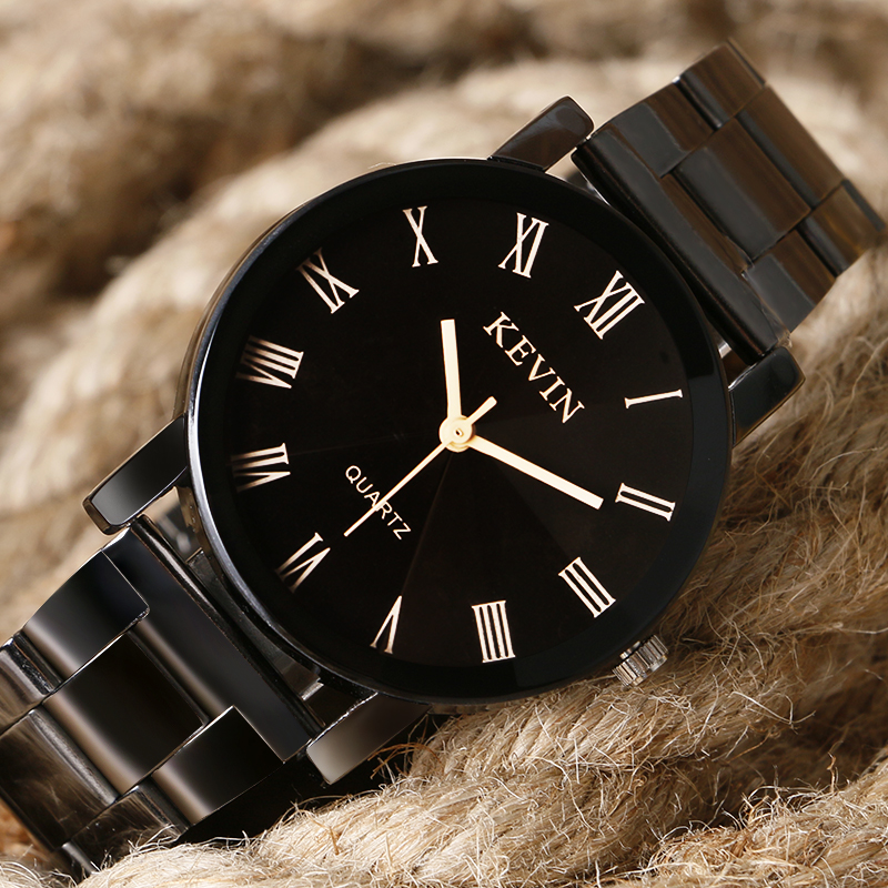 KEVIN Casual Men Women Quartz Wristwatch Roman Number Dial Stainless Steel Clasp Simple Fashion Design Ladies Watch Best Gift