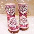 Aidocrystal hecho a mano nuevo desigh bling lentejuelas botas con diamantes de imitación de las mujeres de piel de invierno caliente de botas de color rosa azul negro envío gratis
