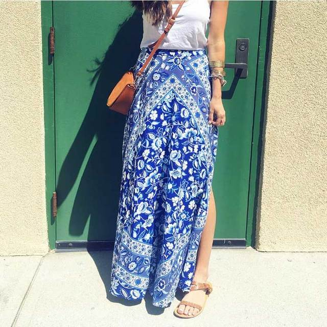 9feddfb256 Boho Inspired hippie chic Split skirt Women s floral print long skirt  bohemian style skirts womens maxi