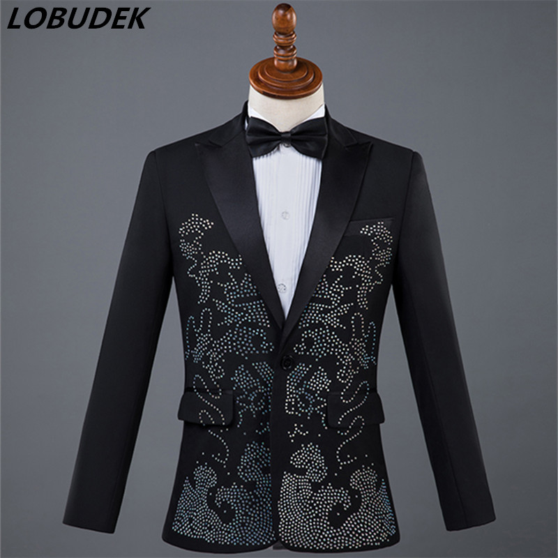 (Пиджак + галстук + Штаны) яркие Камни Для мужчин костюмы блестящие Стекло Diamond пиджаки взрослый костюм певица конферансье мастер этап наряд