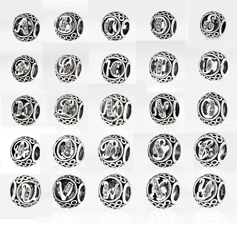 New Silver Plated Bead Charm Letter Clear 26 A-Z  Original Alphabet  Beads Fit Women Pandora Bracelet & Bangle DIY Jewelry