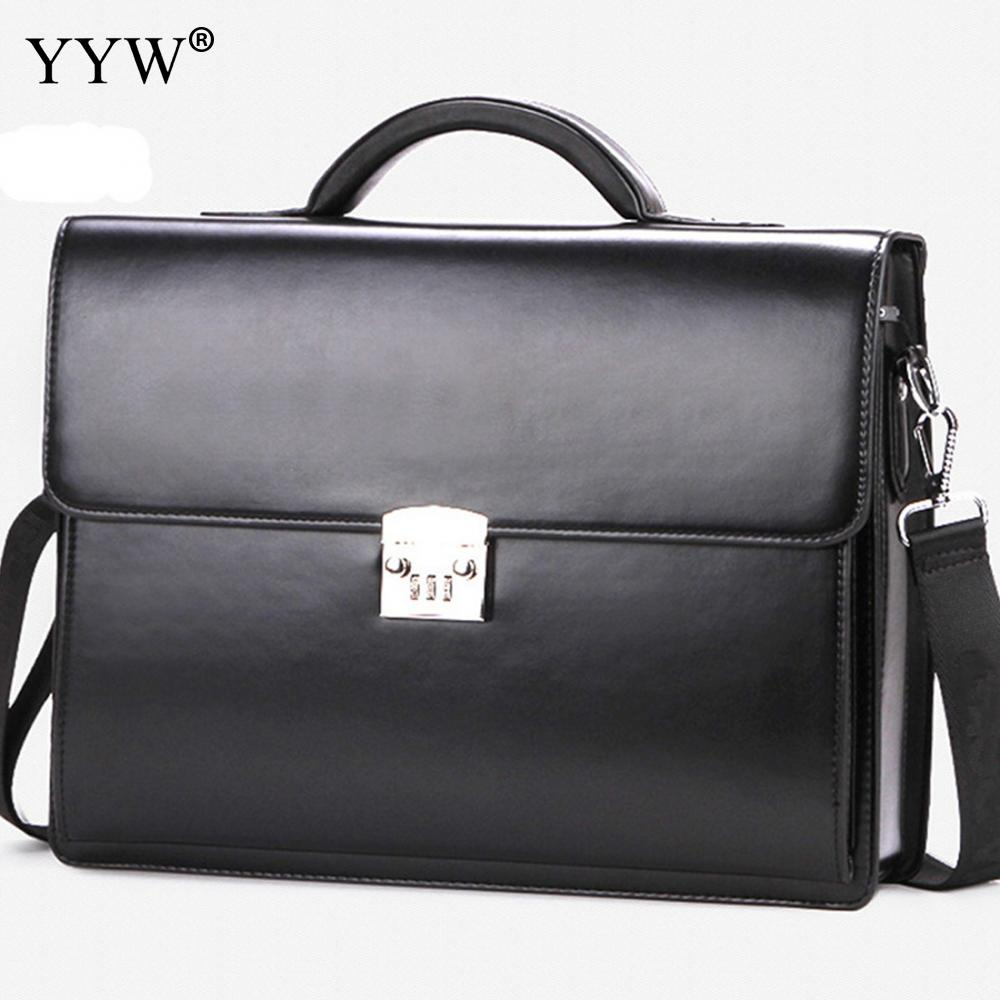 Business Male Bag Men'S Executive Briefcase Black Portfolio Tote Bags For Men Synthetic Pu Leather Handbag A Case For Documents