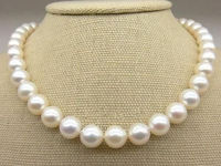 FREE SHIPPING>>>@@ > Hot sale new Style >>>>>Huge 10 11mm Fine White Saltwater Pearl Necklace 17.5