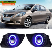eeMrke DRL Daytime Running Lights FOR Nissan Sunny Versa Sedan N17 LED Angel Eye Halogen Bulbs H11 55W Fog Lights Assembly