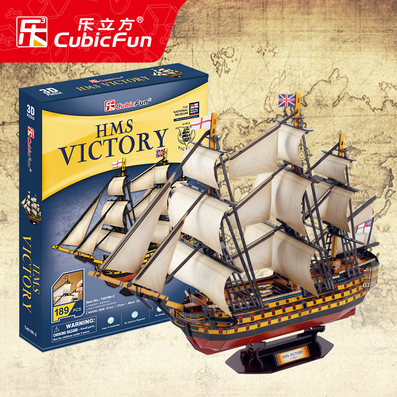 Candice guo! CubicFun Paper model toy 3D DIY Puzzle assemble England HMS Victory boat ship T4019h birthday gift christmas 1pc cubicfun 3d paper model diy puzzle toy gift the spanish armada fleet philip ship boat t4017h children birthday free shipping