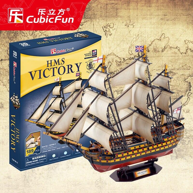Candice guo! CubicFun papier modèle jouet 3D bricolage Puzzle assembler angleterre HMS victoire bateau bateau T4019h cadeau d'anniversaire noël 1 pc