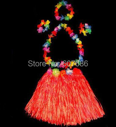 40 kompletov 40cm havajska krila Hula in 4pc Lei Set dame Luau Fancy Dress Costume Party Beach, travnata krila Flower Garland Set